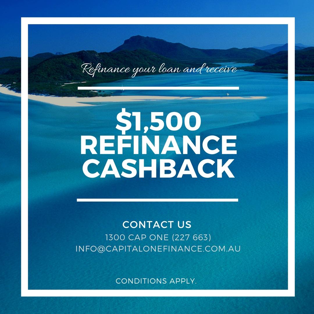 $1500 cash back on home loan refinance